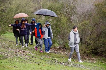 berjalan perlahan diudara yang dingin sambil menikmati rintik hujan gerimis...